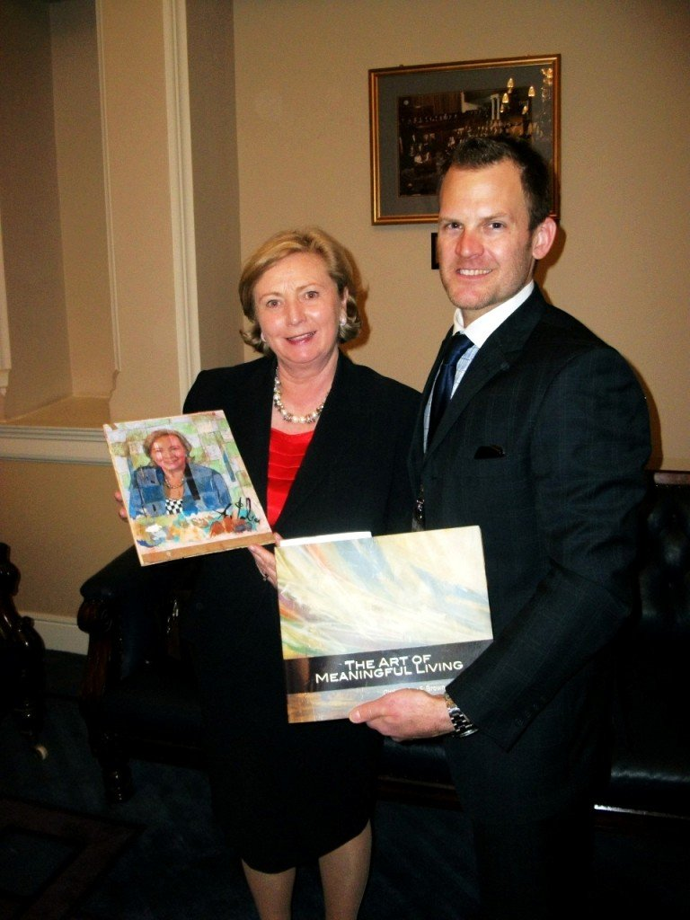 Artist John Ross Palmer with Minister Frances Fitzgerald